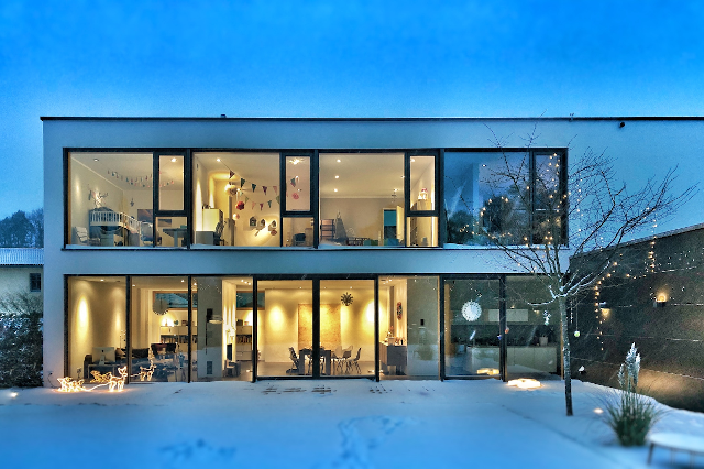 a comfortable snowy house